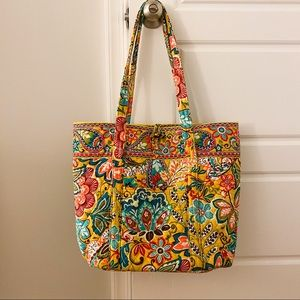 Vera Bradley Large Toggle Tote in Yellow Floral